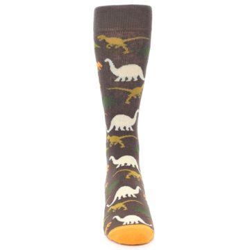 Image of Brown Orange Dinosaurs Men's Dress Socks (front-04)