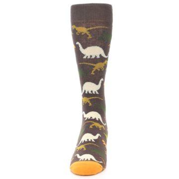 Image of Brown Orange Dinosaurs Men's Dress Socks (front-05)