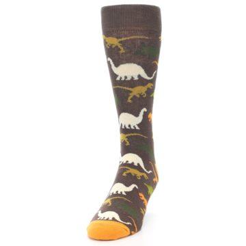 Image of Brown Orange Dinosaurs Men's Dress Socks (side-2-front-06)