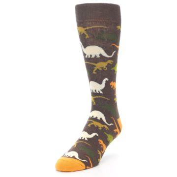 Image of Brown Orange Dinosaurs Men's Dress Socks (side-2-front-07)