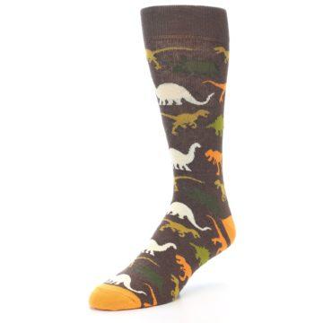 Image of Brown Orange Dinosaurs Men's Dress Socks (side-2-front-08)