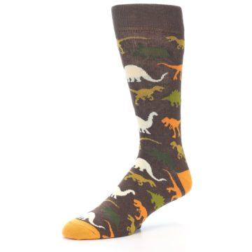 Image of Brown Orange Dinosaurs Men's Dress Socks (side-2-09)