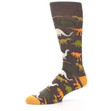 Image of Brown Orange Dinosaurs Men's Dress Socks (side-2-10)