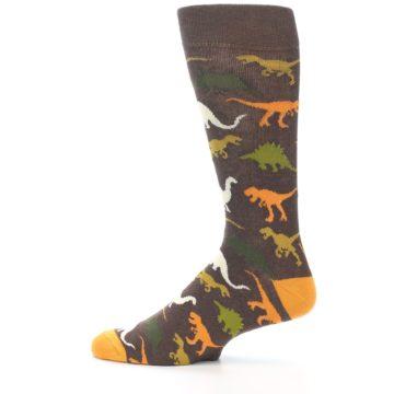 Image of Brown Orange Dinosaurs Men's Dress Socks (side-2-12)
