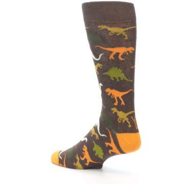 Image of Brown Orange Dinosaurs Men's Dress Socks (side-2-back-14)