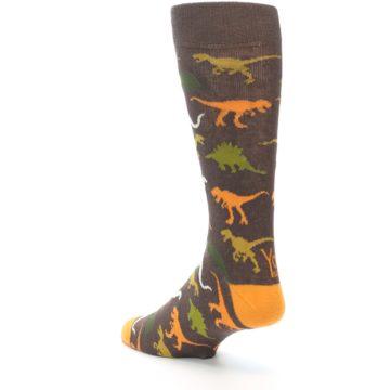 Image of Brown Orange Dinosaurs Men's Dress Socks (side-2-back-15)