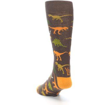 Image of Brown Orange Dinosaurs Men's Dress Socks (side-2-back-16)