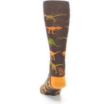 Image of Brown Orange Dinosaurs Men's Dress Socks (back-17)