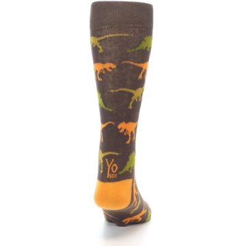 Image of Brown Orange Dinosaurs Men's Dress Socks (back-19)