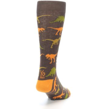 Image of Brown Orange Dinosaurs Men's Dress Socks (side-1-back-20)