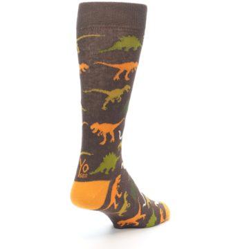 Image of Brown Orange Dinosaurs Men's Dress Socks (side-1-back-21)