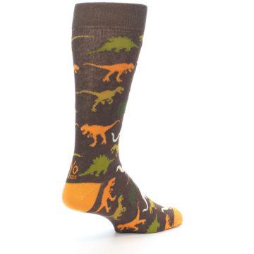 Image of Brown Orange Dinosaurs Men's Dress Socks (side-1-back-22)