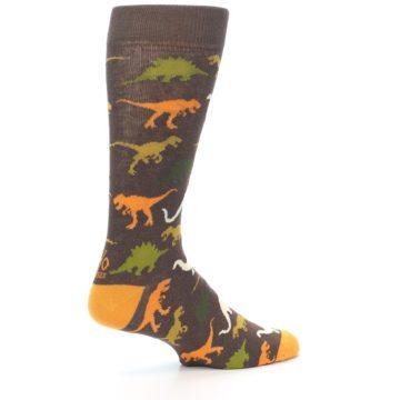 Image of Brown Orange Dinosaurs Men's Dress Socks (side-1-23)