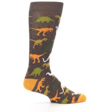 Image of Brown Orange Dinosaurs Men's Dress Socks (side-1-24)