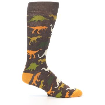 Image of Brown Orange Dinosaurs Men's Dress Socks (side-1-25)