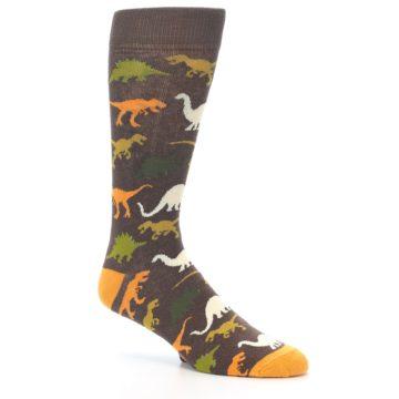Image of Brown Orange Dinosaurs Men's Dress Socks (side-1-27)
