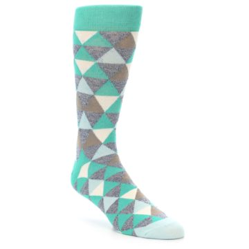 Image of Green Grey Brown Triangles Men's Dress Socks (side-1-front-01)