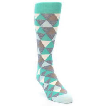Image of Green Grey Brown Triangles Men's Dress Socks (side-1-front-02)