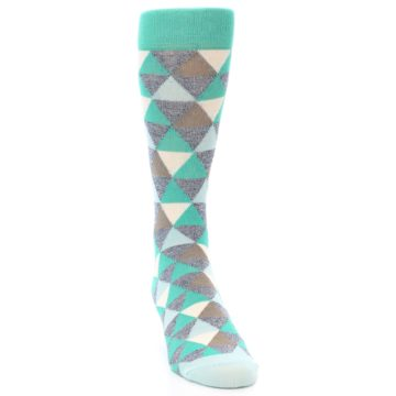 Image of Green Grey Brown Triangles Men's Dress Socks (side-1-front-03)