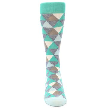 Image of Green Grey Brown Triangles Men's Dress Socks (front-04)