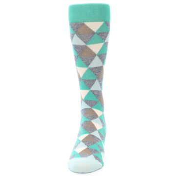 Image of Green Grey Brown Triangles Men's Dress Socks (front-05)