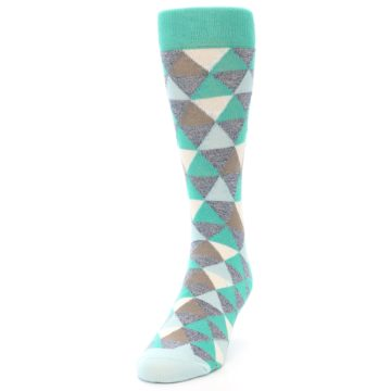 Image of Green Grey Brown Triangles Men's Dress Socks (side-2-front-06)
