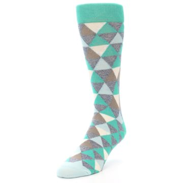 Image of Green Grey Brown Triangles Men's Dress Socks (side-2-front-07)