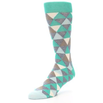 Image of Green Grey Brown Triangles Men's Dress Socks (side-2-front-08)