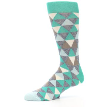 Image of Green Grey Brown Triangles Men's Dress Socks (side-2-10)