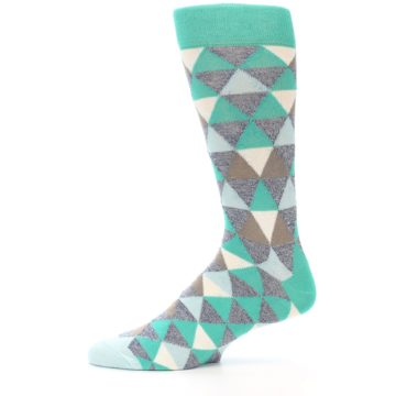 Image of Green Grey Brown Triangles Men's Dress Socks (side-2-11)