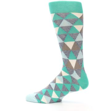 Image of Green Grey Brown Triangles Men's Dress Socks (side-2-12)