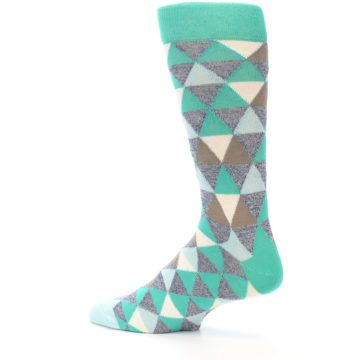 Image of Green Grey Brown Triangles Men's Dress Socks (side-2-13)