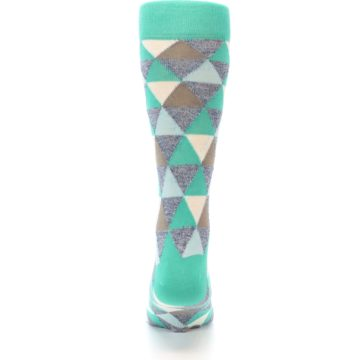 Image of Green Grey Brown Triangles Men's Dress Socks (back-18)