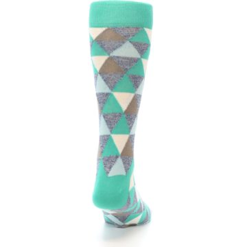 Image of Green Grey Brown Triangles Men's Dress Socks (back-19)