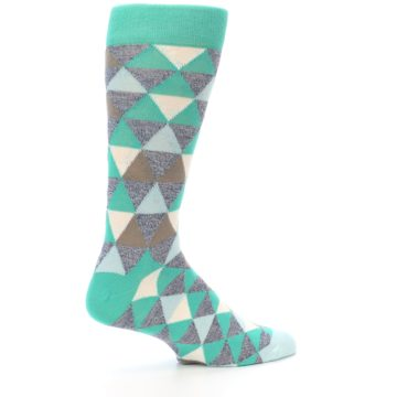 Image of Green Grey Brown Triangles Men's Dress Socks (side-1-23)