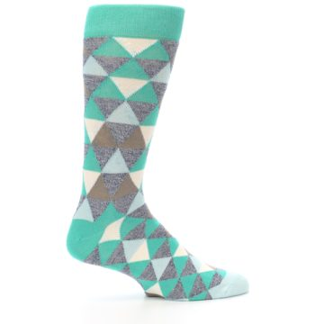 Image of Green Grey Brown Triangles Men's Dress Socks (side-1-24)