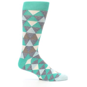 Image of Green Grey Brown Triangles Men's Dress Socks (side-1-25)