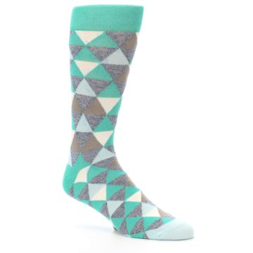 Image of Green Grey Brown Triangles Men's Dress Socks (side-1-26)