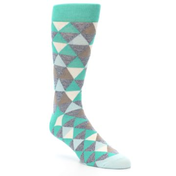 Image of Green Grey Brown Triangles Men's Dress Socks (side-1-27)