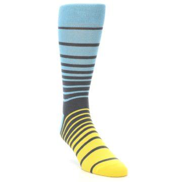 Image of Yellow Blue Grey Stripe Men's Dress Socks (side-1-front-02)
