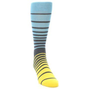 Image of Yellow Blue Grey Stripe Men's Dress Socks (side-1-front-03)