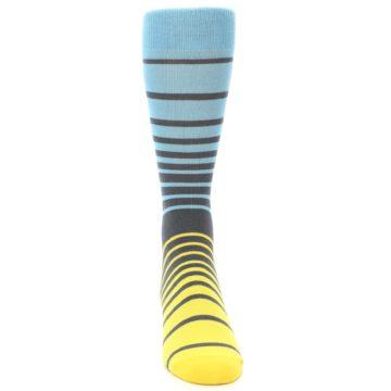 Image of Yellow Blue Grey Stripe Men's Dress Socks (front-04)
