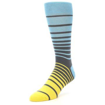 Image of Yellow Blue Grey Stripe Men's Dress Socks (side-2-front-08)