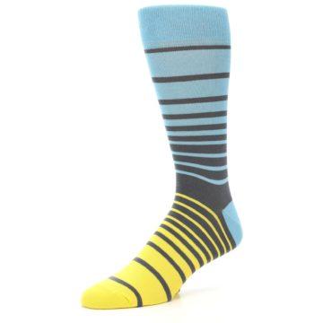 Image of Yellow Blue Grey Stripe Men's Dress Socks (side-2-09)