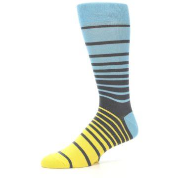 Image of Yellow Blue Grey Stripe Men's Dress Socks (side-2-10)
