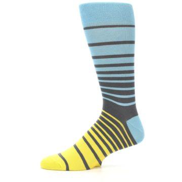 Image of Yellow Blue Grey Stripe Men's Dress Socks (side-2-11)