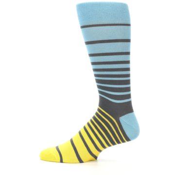 Image of Yellow Blue Grey Stripe Men's Dress Socks (side-2-12)