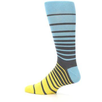 Image of Yellow Blue Grey Stripe Men's Dress Socks (side-2-13)