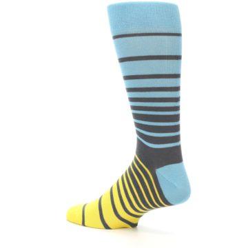 Image of Yellow Blue Grey Stripe Men's Dress Socks (side-2-back-14)