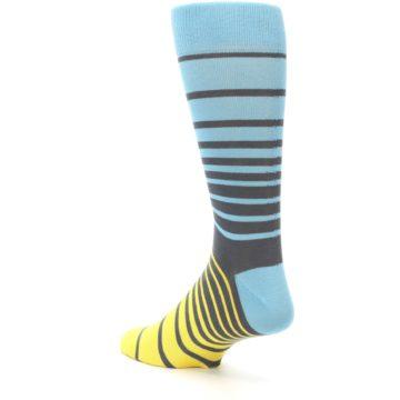 Image of Yellow Blue Grey Stripe Men's Dress Socks (side-2-back-15)